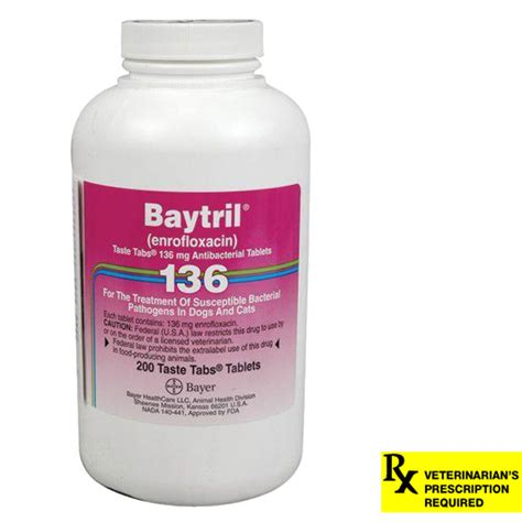 baytril dosage for dogs baytril rx taste tabs 136 mg x 200 ct