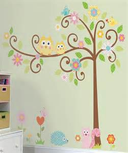 Owl Wall Mural Large Scroll Tree Amp Owls Wall Decal Sticker Vinyl Kids