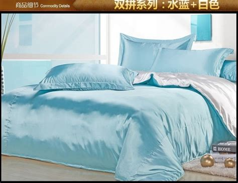 Sprei Bed Cover Home Silk Hs25 aqua blue white silk satin bedding comforter set king size sheets linen bed sheet