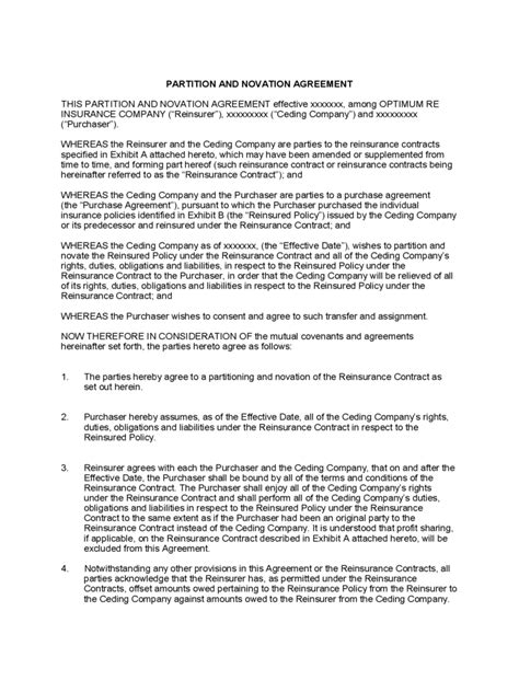 Novation Agreement Letter novation agreement template 6 free templates in pdf