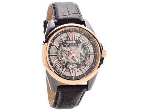 Bulova 98A165 Two Tone Automatic Skeleton Black Leather