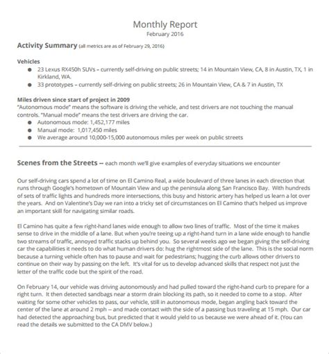 how to write a monthly report template monthly report 12 documents in pdf