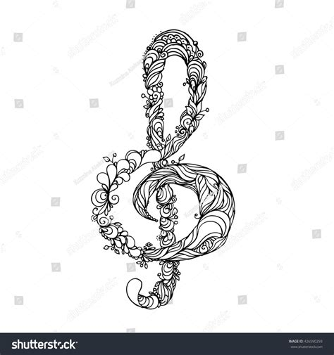 Hand Drawn Ink Doodle Treble Clef Stock Illustration Treble Clef Coloring Page