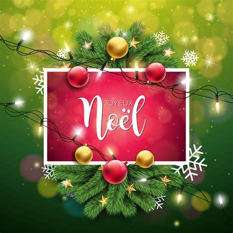 vector christmas illustration  french joyeux noel typography  shiny green background