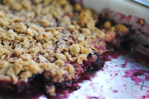 rhubarb strawberry and blueberry crisp cooking amid chaos