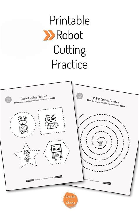 printable practice cutting sheets printable robot cutting practice cutting practice