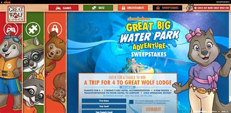 Great Wolf Lodge Sweepstakes - nickelodeon s great big water park adventure sweepstakes nick com greatwolf