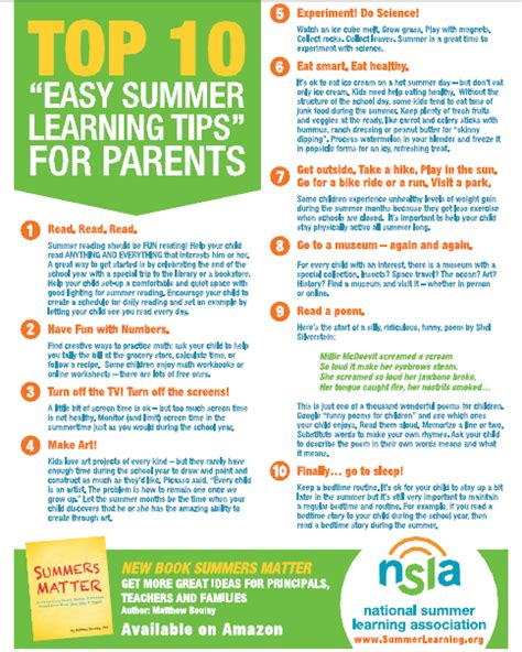 summer learning tips  parents learning resource center