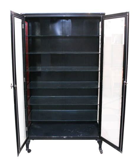 1920s Vintage Black Medical Cabinet with Glass Shelves and