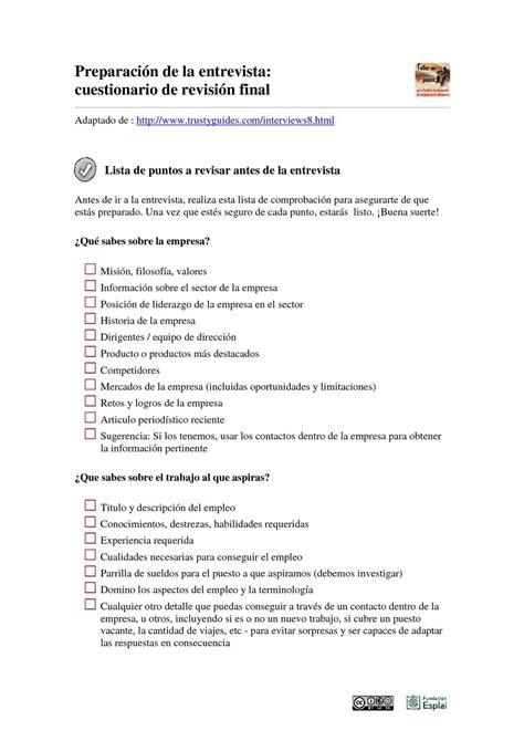 preguntas para entrevista de trabajo sobre liderazgo calam 233 o 7pasos la entrevista de trabajo cuestionario de