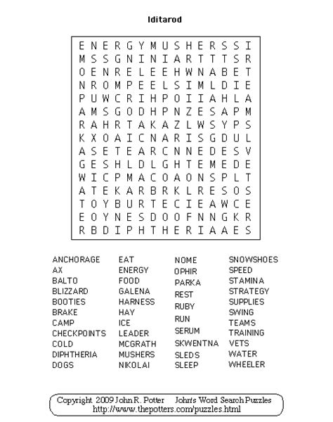 Johns Search S Word Search Puzzles Iditarod