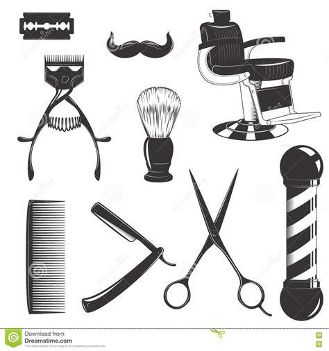 barbershop equipment set stock vector image of badge