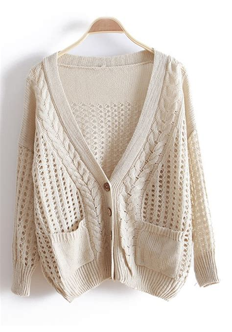 knit beige cardigan beige hollow out bat sleeve knitted cotton cardigan