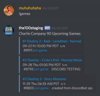 discord bot game the 100 destiny 2 lfg and clans
