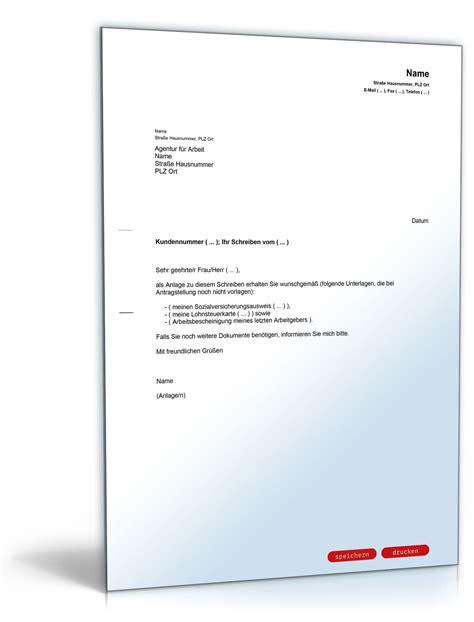 Musterbriefe Zusendung Unterlagen Begleitschreiben An Die Agentur F 252 R Arbeit Zusendung