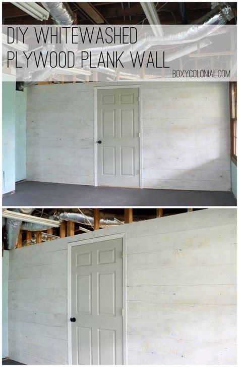 whitewashed plywood plank wall finally starting  fun