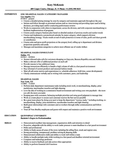 Seasonal Sle Resume seasonal sales resume sles velvet