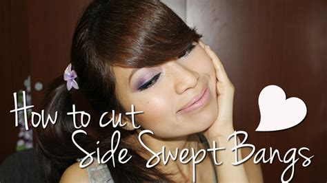 how to style bangs to the side for mature women how to cut side swept bangs fringe youtube