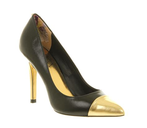 Heels Black List Gold ted baker saysa high heel court shoe black gold metallic in black lyst