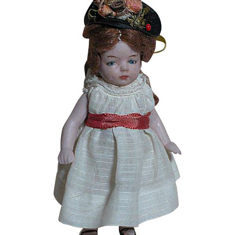 bisque jointed doll german all bisque dollhouse doll painted features jointed