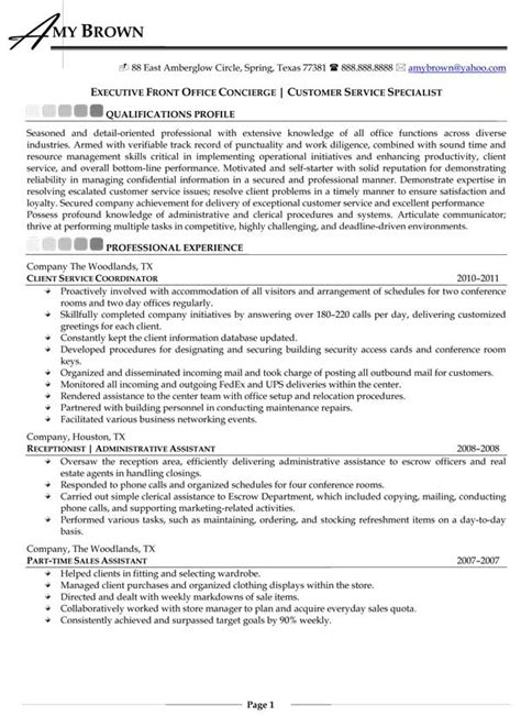 Concierge Cover Letter No Experience by Concierge Description Resume Resume Ideas