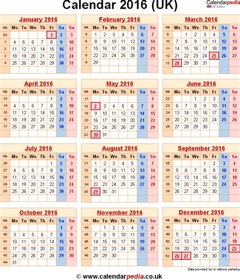 United Kingdom Uk Kalender 2018 2016 Calendar Printable Uk Calendar 2016