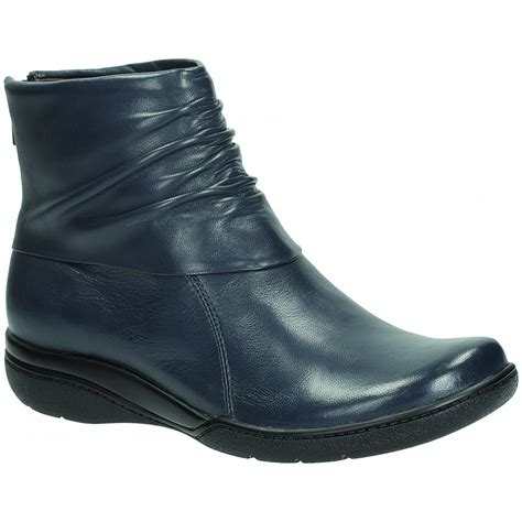 clarks womens kearns blush navy leather ankle boot at