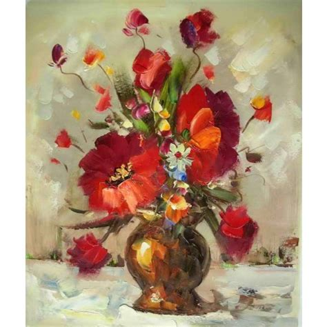 Flowers In Vase Paintings by Gold Vase With Flowers