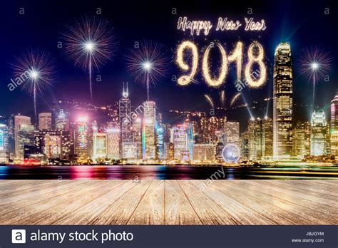 new year 2018 hk happy new year 2018 fireworks cityscape at with