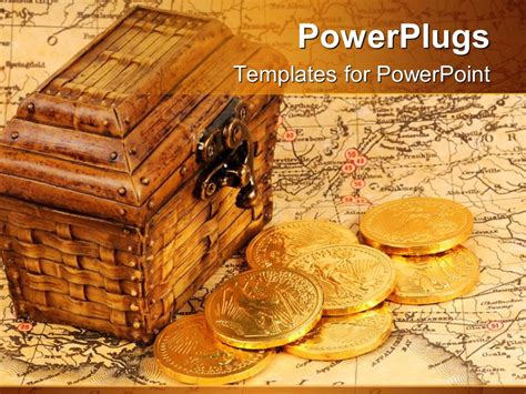 Powerpoint Template Treasure Box And Treasure Map With Gold Coins 30119 Pirate Powerpoint Template