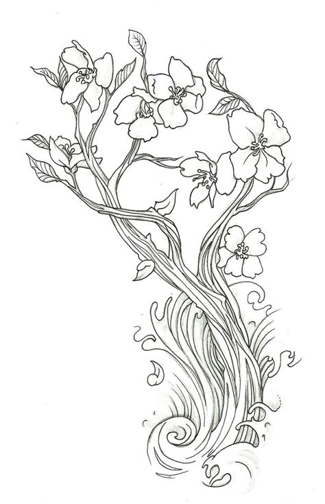 coloring pages japanese flowers cherry blossom by endofnonentity on deviantart
