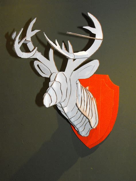 3d cardboard duct tape deer head trophy with template