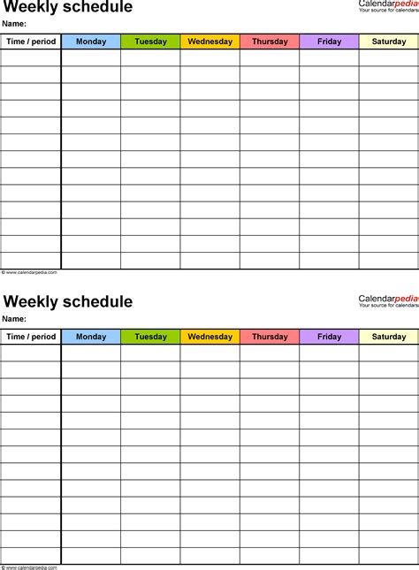 weekly schedule template for free weekly schedule templates for pdf 18 templates