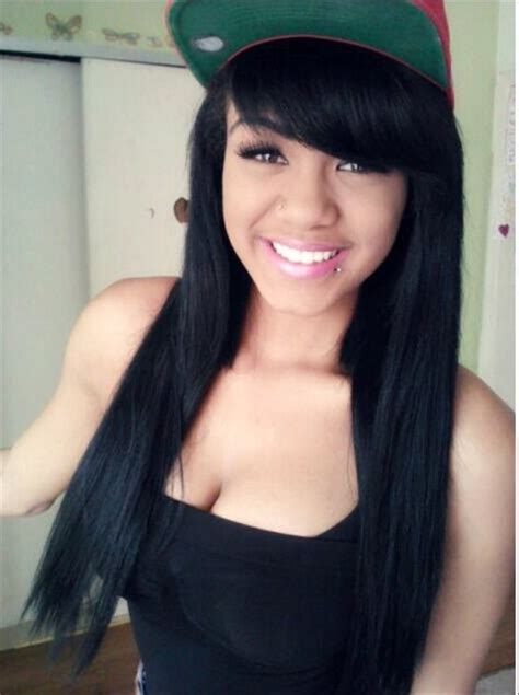 pic of black women side swept bangs and bun hairstyle side swept bangs black hair hairstyles pinterest