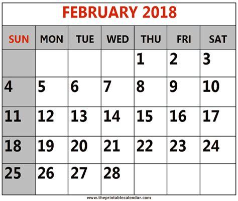 printable calendar 2018 large print february 2018 printable calendars