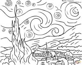 Gogh Starry Coloring Page starry by vincent gogh coloring page free printable coloring pages