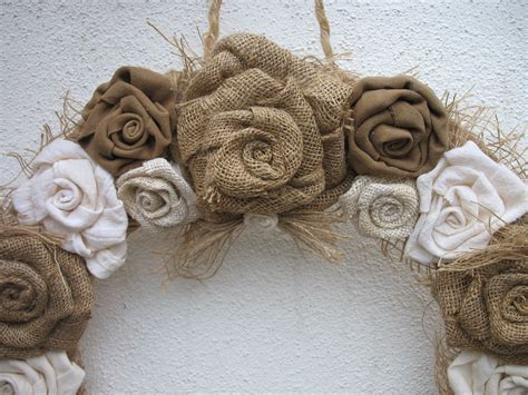 Burlap Rose Wreath For the Door   Burlap Wedding