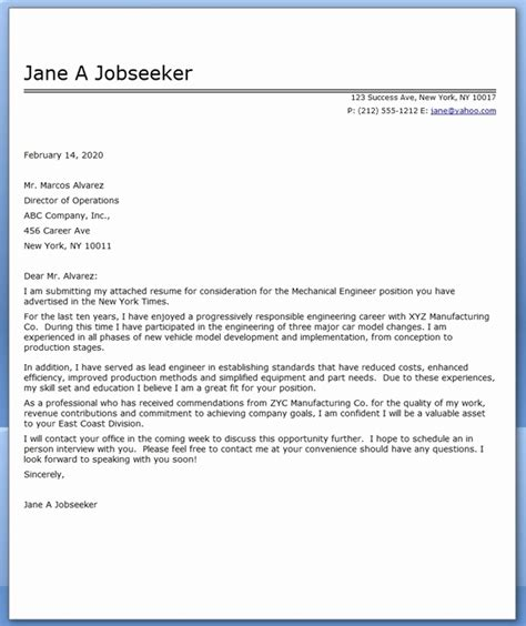 cover letter for engineering application cover letter for application mechanical engineer