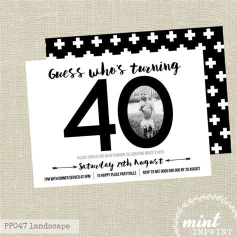 free 40th birthday invitations templates 40th birthday invitation black and white invite by