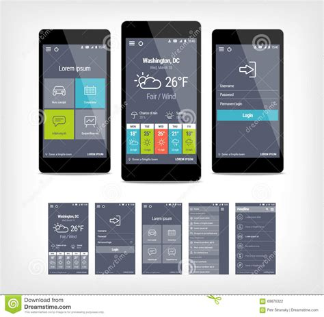 app design template vector mobile app ui set of modern design stock vector