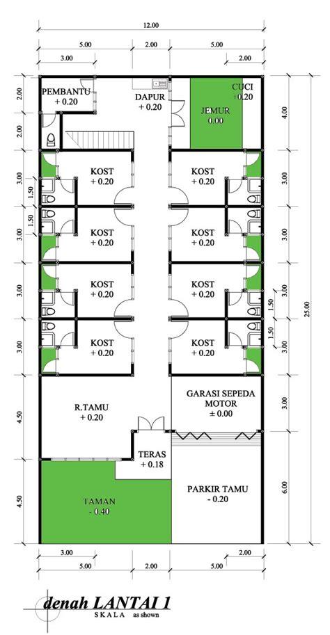 layout tempat kost denah new denah rumah kost satu lantai