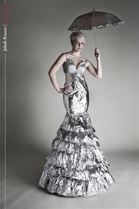 At Tin Dress tin foil gown dresses made with interesting materials