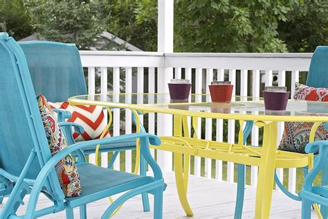 colorful outdoor furniture coated patio chairs unique shaped patio table different color