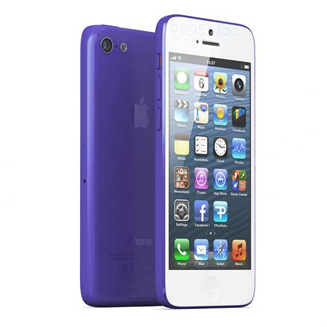 awesome 3d rendering of budget iphone with plastic casing in 10 colors