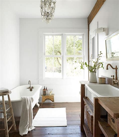 Country Living Bathroom Ideas | salvaged wood washstand cottage bathroom country living