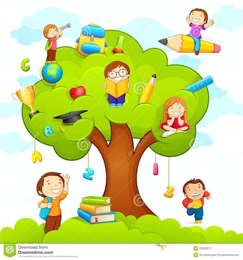 the art of children s picture books tree houses kids studying on tree stock vector illustration of