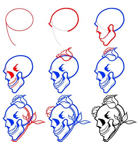 easy tattoo drawing step by step how to draw a skull and roses png 876 215 906 pinteres