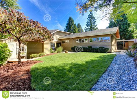 backyard america american house exterior green backyard with trees and