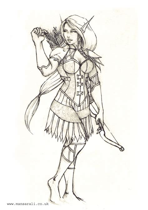 elf archer coloring pages female elf archer by mansarali on deviantart
