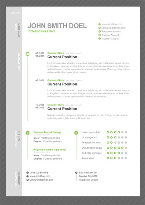 Free Cv by 35 Best Free Resume Design Templates Themecot